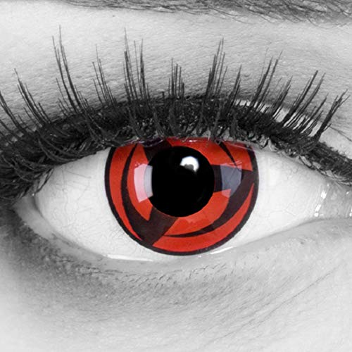 Cosplay Kostüm Billig Kakashi - Meralens A0481 1 Paar Kakashi Kontaktlinsen mit Pflegemittel mit Behälter ohne Stärke, 1er Pack (1 x 2 Stück)