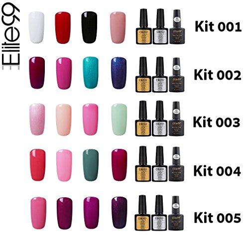 Elite99 Esmalte de Uñas Semipermanente Uñas de Gel UV LED Kit de Manicura 7pcs con Base Coat Top Coat de Brillo y Top Coat de Mate Pintauñas Soak off   Kit 020