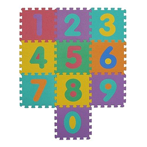 VeloVendo® Puzzle-Spielmatte | Verzahnte Puzzle Quadrate fördern die visuelle-sensorische Entwicklung | Sanfte Baby-Bodenmatte | EVA Schaumstoff Bodenquadrate | TÜV Rheinland geprüft (Zahlen)