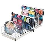 mDesign Porta trucchi in plastica - Organizer per cosmetici con 9 scomparti - Contenitore per make-up per bagno, tavolo da trucco o camera da letto - trasparente e argento