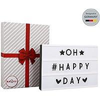 Caja de luz con letras I Lightbox con 90 letras I Regalo San Valentín I Para boda y como decoración I Regalo original para cumpleaños I Lámparas de letras con pilas AA I 230 V I IP20 I 4,5 W