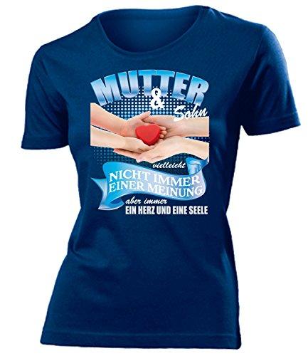 Mutter und Sohn vielleicht nicht immer einer Meinung aber immer ein Herz und eine Seele 5394 Frauen T-Shirt (F-N) Gr. M