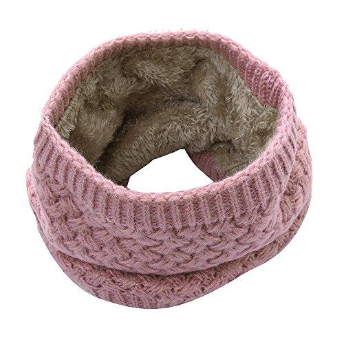 Yvelands warmer Feinstrick Loop Schal mit Flecht Muster und sehr weichem Fleece Innenfutter, Schlauchschal, Unisex (Rosa)