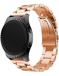 Reloj banda 22mm, happytop acero inoxidable reloj pulsera correa de muñeca de repuesto para Samsung Galaxy Gear S2Classic SM-R732, hombre, oro rosa, S