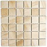 Mosaik Fliese Keramik Steinoptik sandbeige für BODEN WAND BAD WC DUSCHE KÜCHE FLIESENSPIEGEL THEKENVERKLEIDUNG BADEWANNENVERKLEIDUNG Mosaikmatte Mosaikplatte