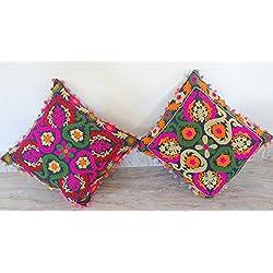 """2PC unidades Boohho Hippie Vintage Suzani funda para cojín bordado 16x 16""""Indian funda de almohada manta de algodón, 40x 40cm"""