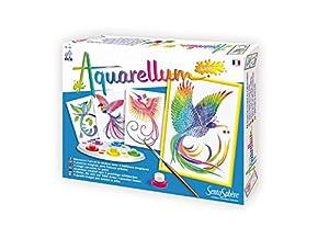 Sentosphere 3900060 - Junior Aquarellum Aves del paraíso, Conjunto de Pintura, 4 para Colorear