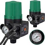 Monzana Pumpensteuerung mit Baranzeige Druckwächter Druckschalter mit und ohne Kabel - Modell mit Kabel - 10 bar - überwacht den Wasserdruck - automatisches Ein- und Ausschalten