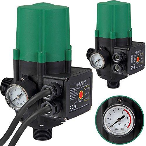 Monzana® Pumpensteuerung mit Baranzeige Druckwächter Elektronische Pumpensteuerung - Druckschalter - mit Kabel - 10 bar - überwacht den Wasserdruck - automatisches Ein- und Ausschalten