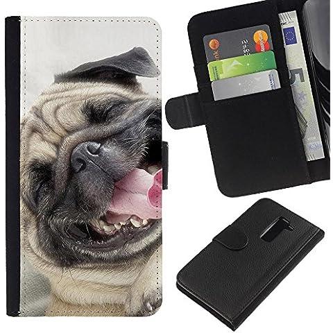 Pug Happy Smiling Dog Pet Canine Fawn - la tarjeta de Crédito Slots PU Funda de cuero Monedero caso cubierta de piel LG G2 D800
