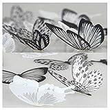 36 pezzi Adesivo farfalla 3D Nuova decorazione della parete di casa Decorazione di mobili Adesivi murali fai da te Farfalle Materiali di protezione ambientale in PVC Bianco e nero 2 set