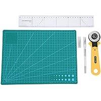 Akozon Kit de sastre, 45mm Alfombrilla de corte,cortador rotatorio, regla