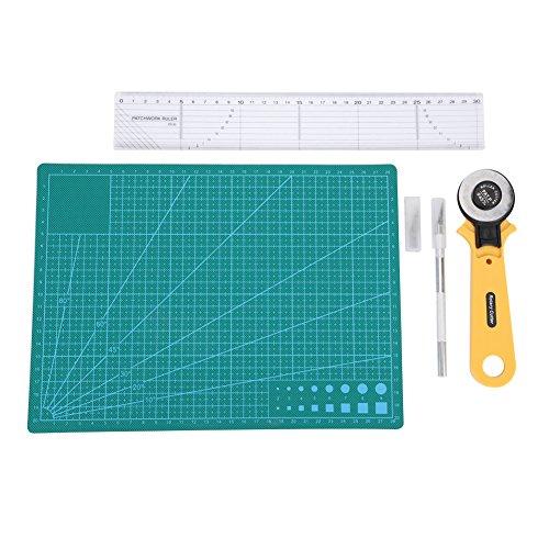 Preisvergleich Produktbild Redxiao Schneidwerkzeug Kit,  5 Teile / Satz Langlebig multifunktionale Praktische Funktion mit Aufbewahrungstasche Lineal Schneidematte Drehbar und Carving Cutter für Büro Werkstatt