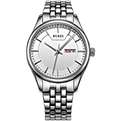 BUREI Women's Quartz Wrist Watches with Day and Date Calendar Stainless Steel Metal Bracelet