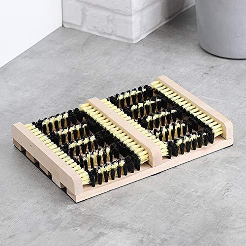 Benelando Schuhabstreifer mit Zwei Feldern Schuhputzer Schuhreiniger Fußabstreifer Fußabtreter Holz