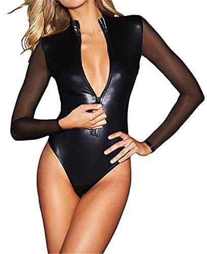 Wonder Pretty Damen Leder Bodysuit Halloween Kostüme Wetlook PVC Dessous Catsuit Mesh-Langarm Overall Total ()