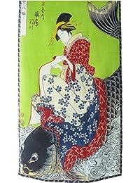 Prettystern P417 - 160cm Gravure sur bois en couleur Foulard de soie de Japon Art - Kitagawa Utamaro - la beauté japonaise