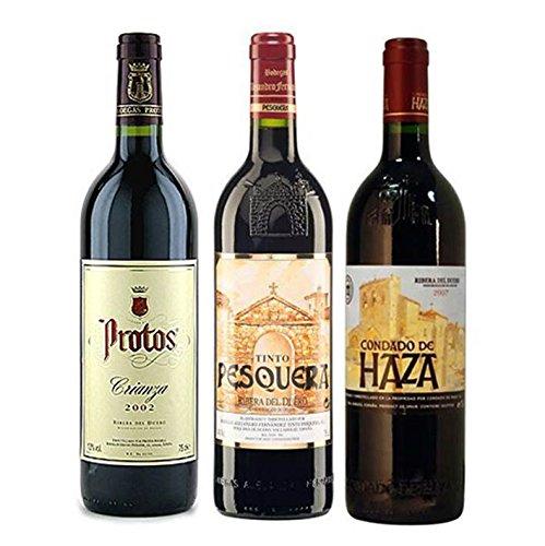 Pack Vino Ribera Del Duero Gourmet 3 Botellas. 1 Protos Crianza, 1 Pesquera Crianza Y 1 Condado De Haza Crianza