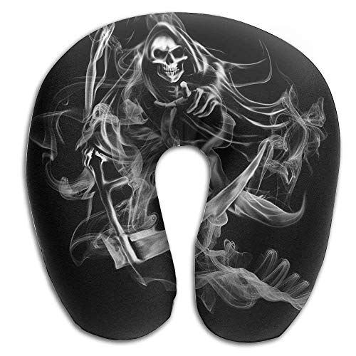 Bgejkos Neck Pillow Smoking Ghost Picture Travel U-Shaped Pillow Soft Memory Neck Support for Train Airplane ()