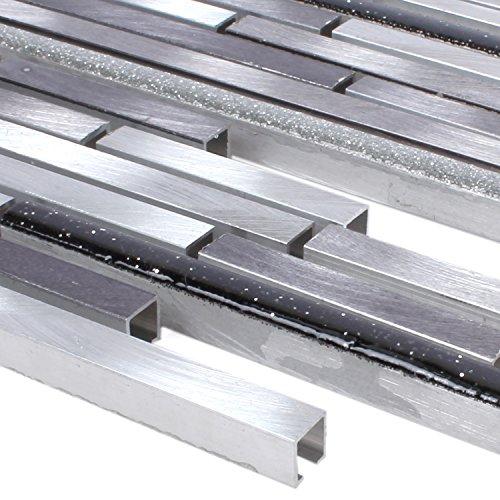 Aluminium Mosaik (Mosaikfliesen Aluminium Sunstar Schwarz Silber Glitzer | Wandfliesen | Mosaik-Fliesen | Glasmosaik | Fliesen-Bordüre | Ideal für die Küche und Badezimmer (auch als Muster erhältlich))