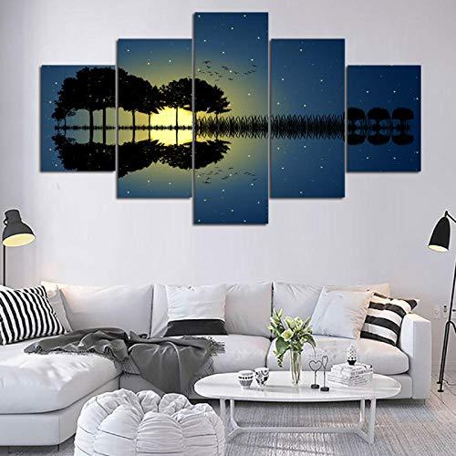 wfdmd 5 Stücke HD Guitar Music Blue Sky Poster 4 Panels Drucke Wandkunst 3 Leinwand Malerei Gerahmte Kunstwerke Für Wohnzimmer @ _no_Frame_30X40_30X60_30X80cm - Iii Gerahmt Leinwand