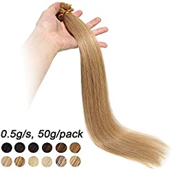Extensions Keratine Pose a Chaud Extension Cheveux Naturel 100 Mèches/50g #27 Blond foncé - Pre Bonded Nail U Tip Remy Human Hair Extensions - 40cm