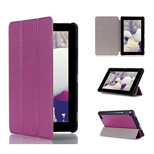 Bluester Tri-Fold Leather Stand Case Cover for Amazon Kindle Fire 7inch 2015 (Purple) Test