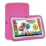 Tablet per bambini Android 7.1, display HD da 7 pollici, ROM da 8 GB da 8 GB, WiFi, Doppia fotocamera Bluetooth, Google Play Store / iwawa preinstallato, numerosi giochi educativi, custodia in silicone gratuita (2018 Novità) Rosa