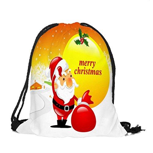 Longra Tessuto di Natale del Babbo Natale del tessuto di tema di natale Buon Natale di stampa del sacchetto del Drawstring C