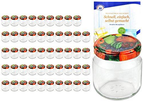 MamboCat 50er Set Rundgläser 212 ml Nieder Deckelfarbe Obst Dekor to 66 inkl. Diamant Gelierzauber Rezeptheft, Marmeladengläser, Einmachgläser, Einweckgläser, Gläser -