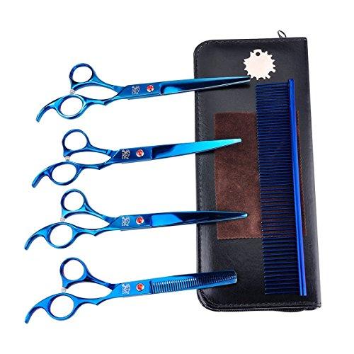 Hundescheren Rision 7 Zoll 5 in 1 Edelstahl Profi Hunde Haarschere mit Effilierschere für alle Hunde Katze Schneiden und Grooming (5-Teilig Blau) Schwarz Profi-schere