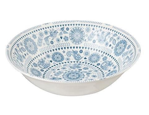 Queens Penzance 24 cm Earthenware Concentric Circles Salad Bowl