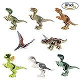 Diealles 8PCS Dinosauro Giocattolo Blocchi Jurassic World Dinosaur Miniature Action Figures, Regalo Perfetto per i Tuoi Bambini