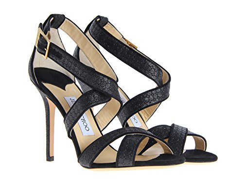 Sandalo Lottie incrociato Jimmy Choo in glitter nero - Codice modello: LOTTIE EBG 161 - Taglia: 36.5 IT