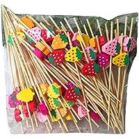 [Fresa] 200 piezas Selecciones de cóctel de bambú de fiesta Selecciones de postre desechables