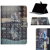 XTstore Huawei Mediapad M5 Lite 10 Hülle, Ultra Schlank Schutzhülle Tasche Stand Cover mit Kartenfächer für Huawei MediaPad M5 Lite 10,1 Zoll Tablet-PC, Katze mit Tiger