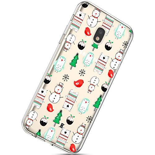 Handytasche Galaxy J3 2018 Crystal Clear Ultra Dünn Durchsichtige Silikon Schutzhülle Weiche TPU Schutzhülle Silikon Dünn Case Kirstall Transparent Handyhüllen,Schneemann Weihnachtsbaum