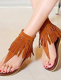 ShangYi Sandaletten für Damen Damenschuhe - Sandalen - Kleid - Kunstleder - Flacher Absatz - Zehenring - Schwarz / Rot / Weiß , red-us8 / eu39 / uk6 / cn39 , red-us8 / eu39 / uk6 / cn39