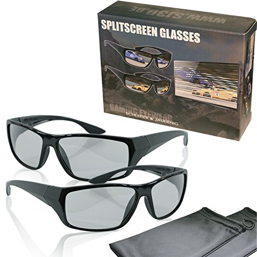 "Price comparison product image 2 Player split screen polarized gaming glasses - black - compatible with ""Dual Play"" by LG,  ""Full Screen Gaming"" (passive version) by Philips and ""SimulView"" (passive version) by Sony- same technique,  but no 3D glasses - with pouch and cleaning cloth"