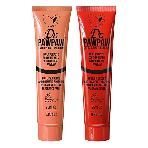 Lippenbalsam-duo-pack (Dr. PAWPAW Tinted Peach Pink & Ultimate Red Multi-Purpose Balm Duo Pack, For Lips, Cheeks & Other Cosmetic Finishing, 2 x 25ml Duo Pack)