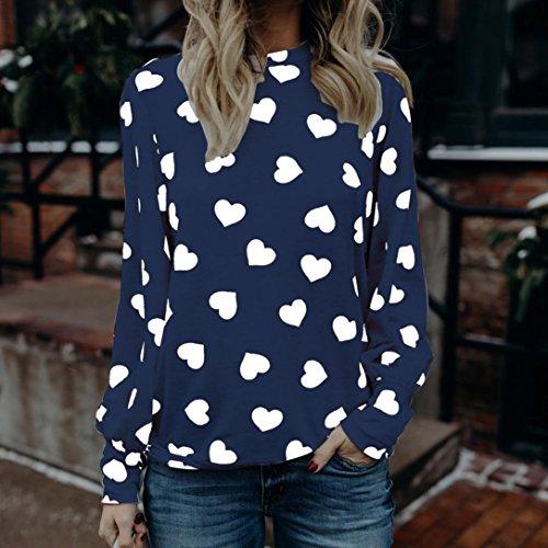 SamMoSon Camicetta Maglie a manica lunga Maglietta Amo La stampa di San Valentino Elegante T-shirt Moda Sexy Blusa Blu