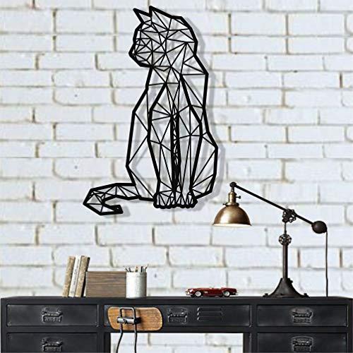 DEKADRON Geometrische Katze Metall Wanddekoration Wandsilhouette Metall Wanddekoration Dekoration Wohnzimmerdeko 23