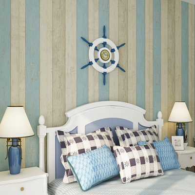 BTJC Wallpaper retro blue solid pure simulation of wood adhesive-bonded cloth vertical stripes children's room Eastern Mediterranean wallpaper , 73602 blue double color board