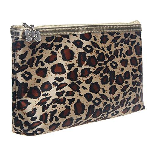 Pondkoo Portable Maquillage Pochette de voyage Trousse de toilette de stockage Sac à main imprimé léopard/imprimé Zébré imprimé léopard