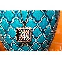 Colgante Alhambra Mosaico Naranja y Verde 25mm - Regalo reyes - Aniversario