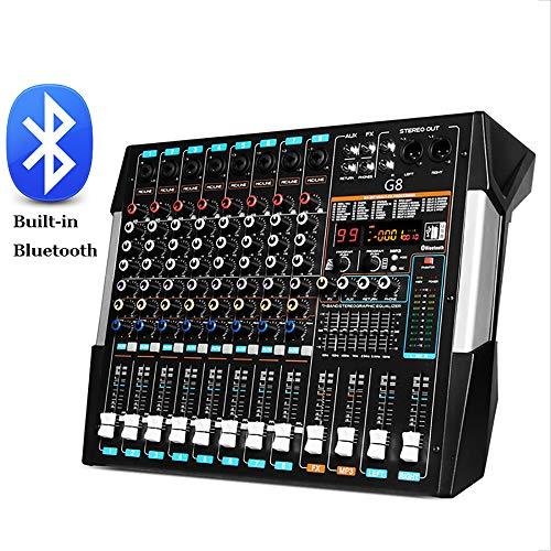 Stereo Mixer 8-Kanal-Kompakt Mini Mischpult Echo DSP Effekte, Dual Screen, USB/Bluetooth/ 48V Phantomspeisung Funktionen für Tonaufnahmen, Musikbearbeitung