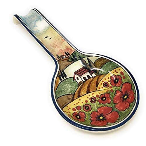 CERAMICHE D'ARTE PARRINI- Ceramica italiana artistica, posamestolo decorazione paesaggio papaveri, dipinto a mano, made in ITALY Toscana