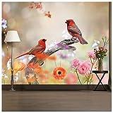 azutura Orangener Vogel Fototapete Pinke Blumen Tapete Mädchen Schlafzimmer Wohnkultur Erhältlich in 8 Größen Riesig Digital