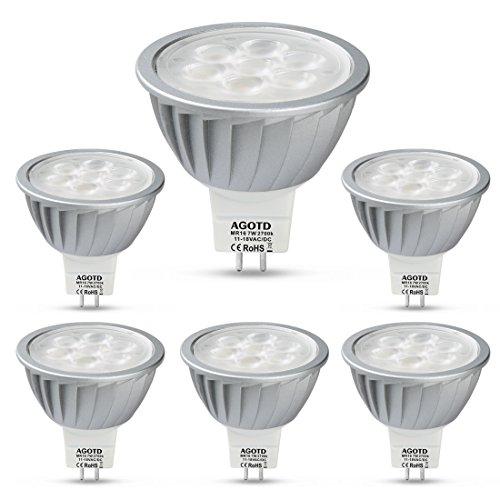 12v Fg Glühbirne (AGOTD LED GU5.3 Lampe 7W MR16 12V Warmweiß,50W Halogenlampe Äquivalent, Hohe Helligkeit, Hohe Kompatibilität,Kein Flimmern,50mm Durchmesser,100% Aluminium,560LM,38 °Deg,GU 5,3 Sockel,2700K,6er Pack)
