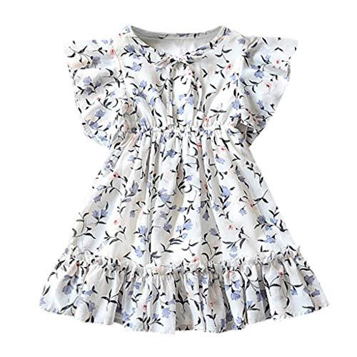 Longra Kleider Kleinkind Baby Kinder mädchen fliegen hülse Geraffte floral Prinzessin Kleider Casual Kleidung Blumendruck Print Kleid Prinzessin ()